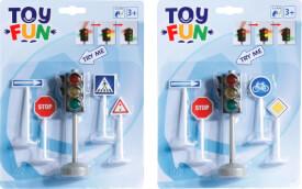Toy Fun Verkehrsampel mit Verkehrszeichen, 2-fach sortiert