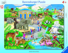Ravensburger 66612 Rahmenpuzzle Besuch im Zoo, 45 Teile